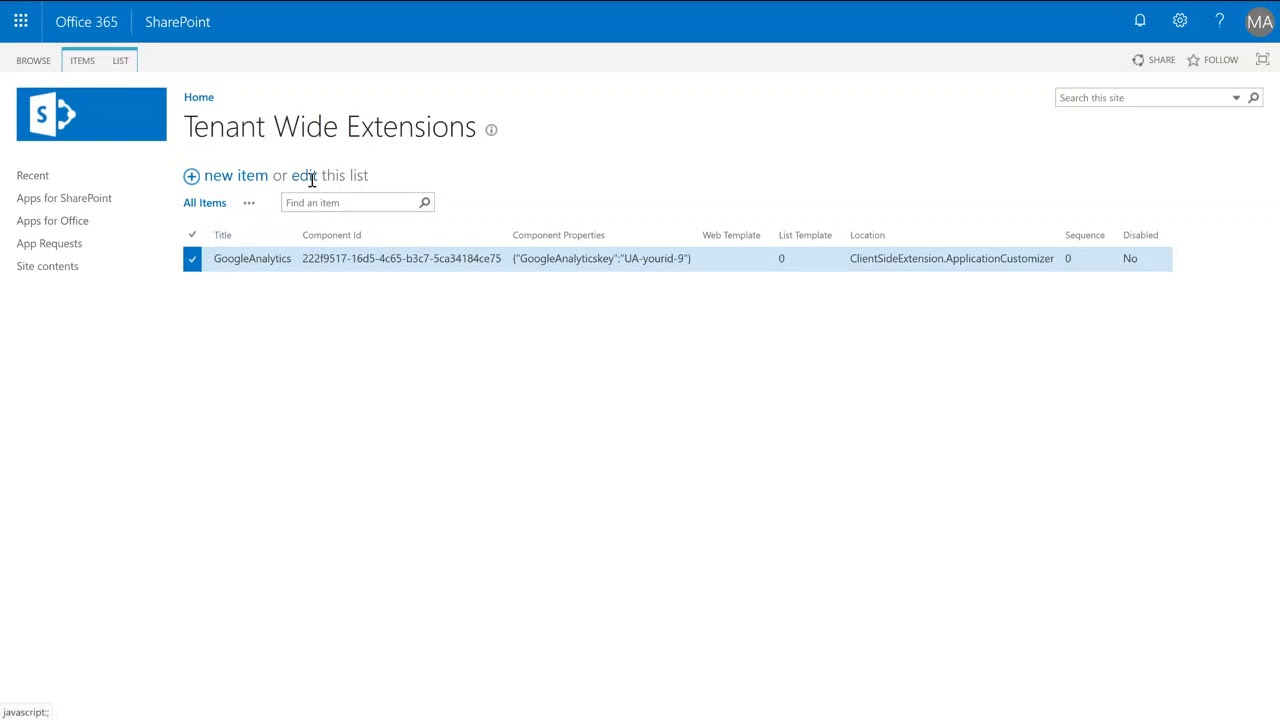 Tracking code in Tenant Wide Extensions list – Expiscornovus