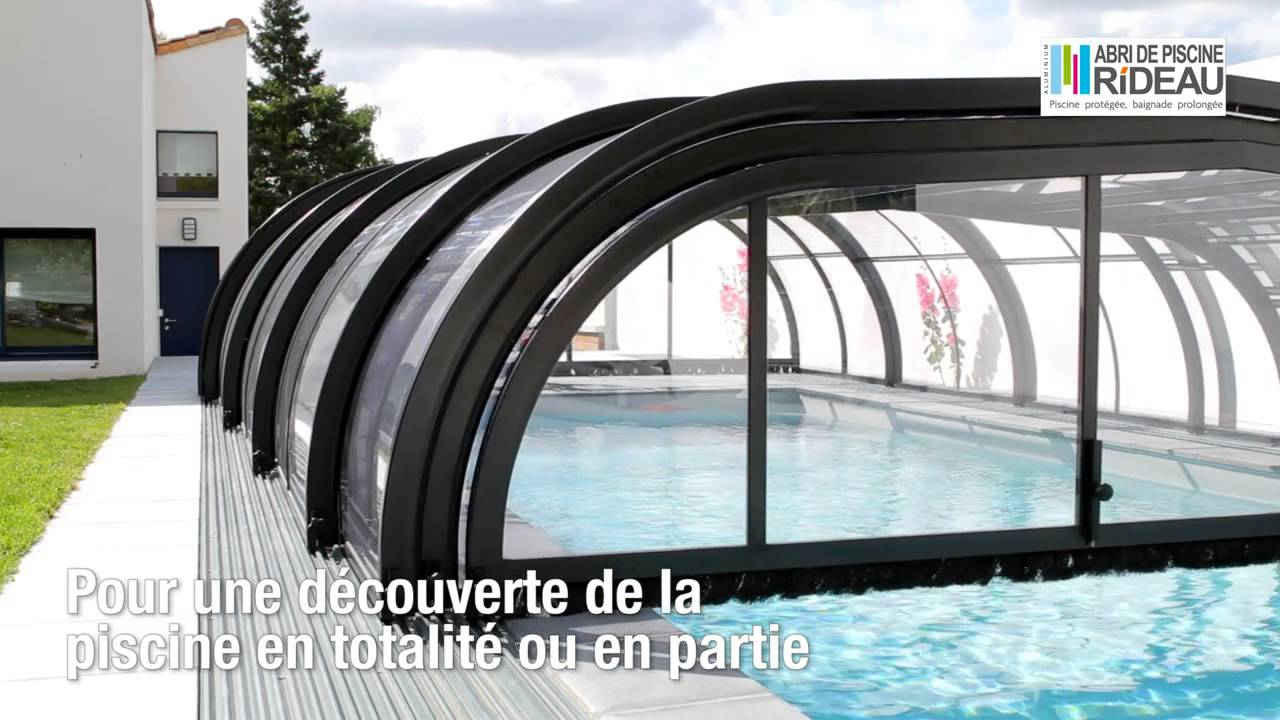 Abri de piscine rideau elliptik mi haut youtube for Abri piscine semi haut