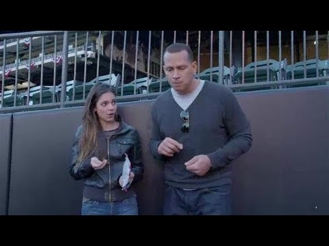 Alex Rodriguez and Katie Nolan spitting seeds at the World Series