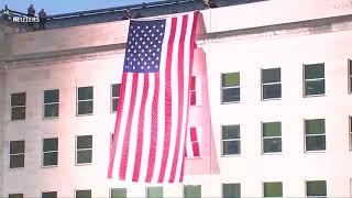 Американский флаг на стене Пентагона - дань памяти теракта 11 сентября