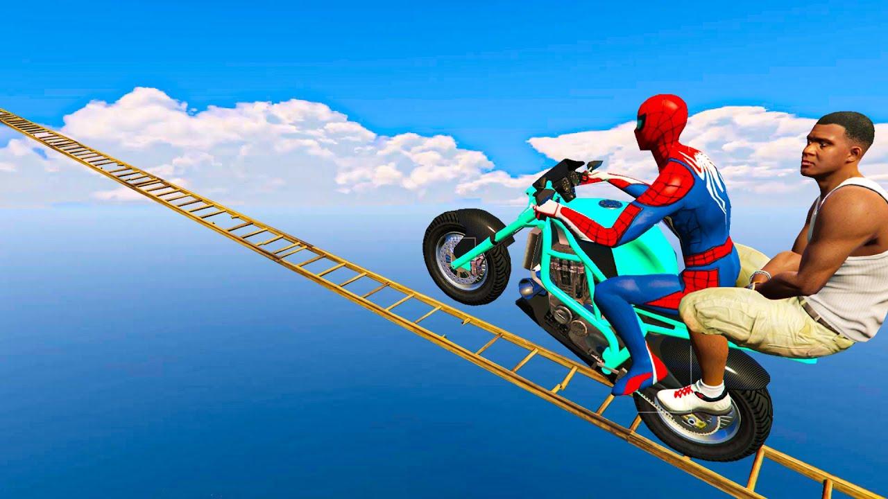 Franklin aur Spider-man ki Stunt Race - GTA 5 impossible parkout challenge