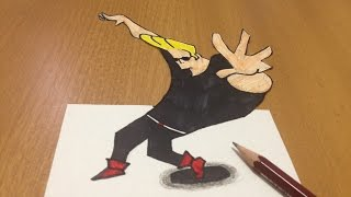 How to draw 3D Johnny Bravo, Anamorphic Illusion Time Lapse