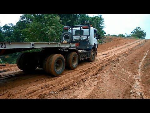 Scania And Mitsubishi Fuso Trailer Trucks In Mud Roads - Big Truck In Mud Road