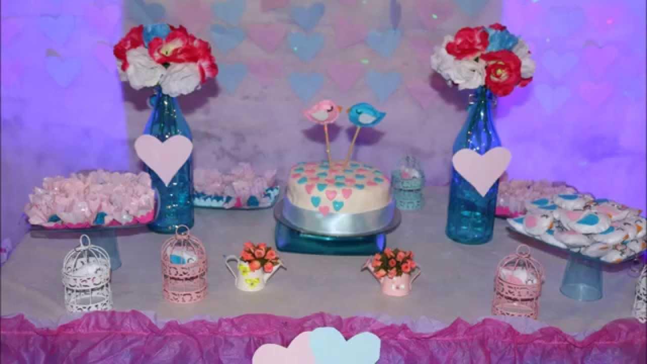 Dicas de decoraç u00e3o de festa simples(Noivado) YouTube -> Decoração De Mesa De Bolo De Noivado Simples
