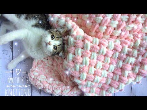 Плюшевый плед из Ализе Пуффи узором плетёнка. Мастер-класс от Mother's Knitting