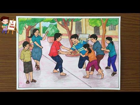 Cách vẽ tranh trò chơi dân gian: Chơi U / Vẽ tranh trò chơi dân gian / How to draw folk games.
