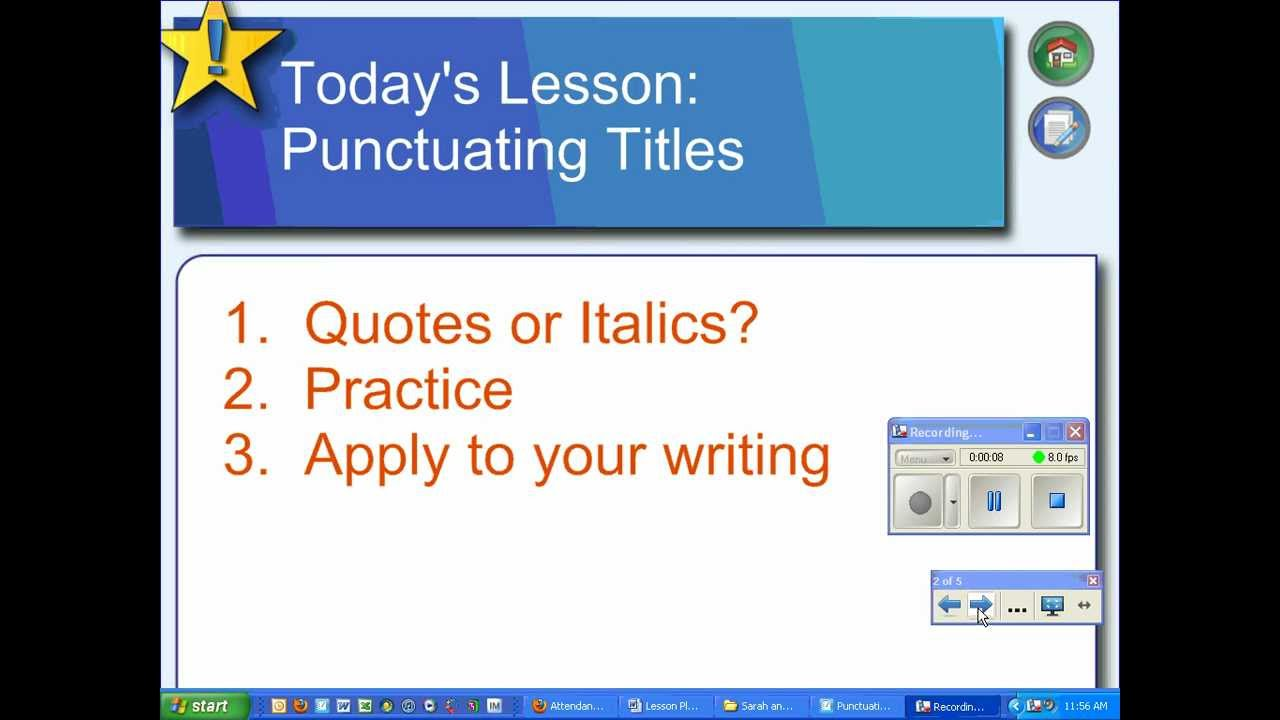 quotes in an essay italics You must learn when to enclose a title within quotation marks and when to italicize it word processors make it easy to italicize essays, or screenplays.