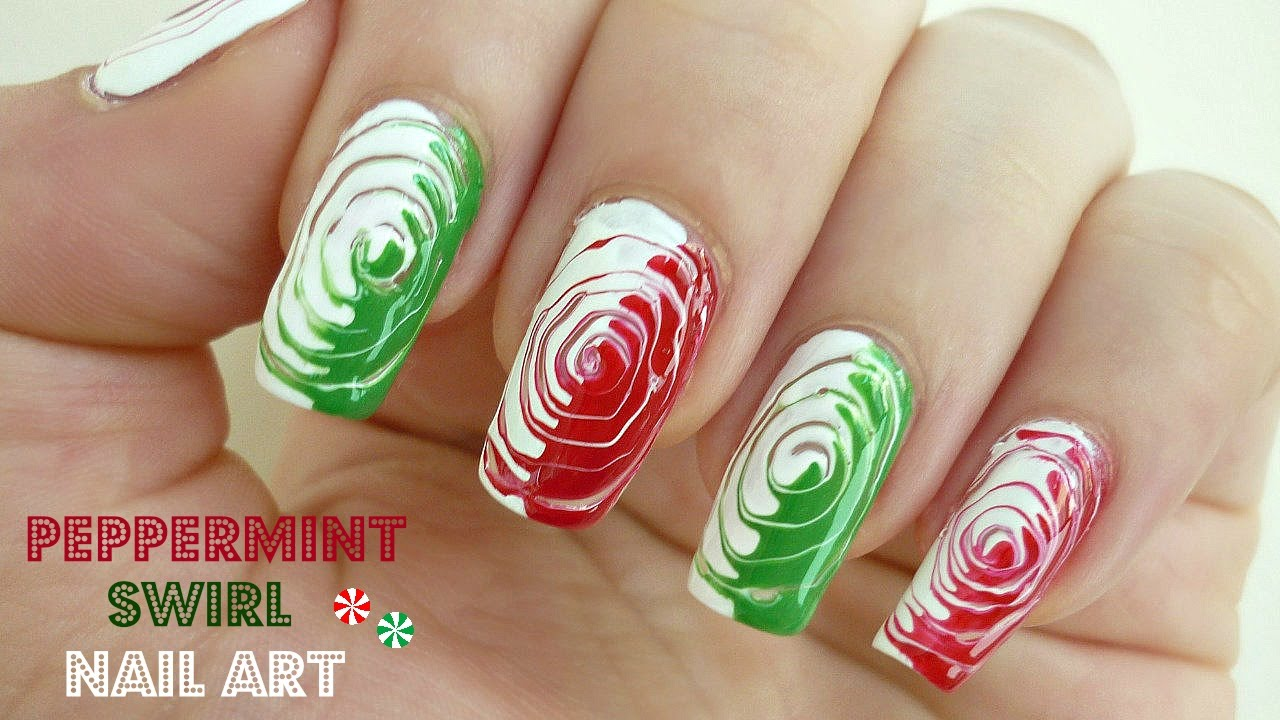 Peppermint Swirl Nail Art! - YouTube