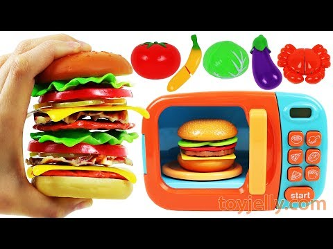 Learn Fruits & Vegetables with Giant Toy Cheeseburger Toy Monster Hamburger Stand Microwave Playset
