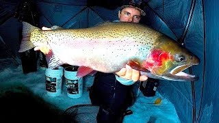 INSANE HUGE TROUT SIGHT FISHING FROZEN EPIC HIDDEN DANGEROUS CLEAR MYSTERY LAKE STRANDED CHALLENGE?!