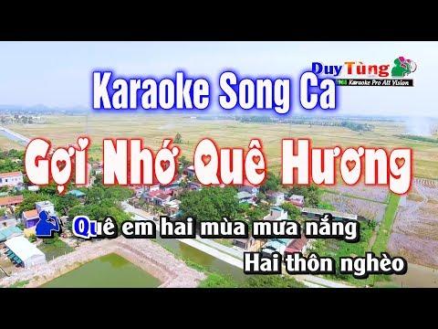 Karaoke || Gợi Nhớ Quê Hương Song Ca ||  Nhạc Sống Duy Tùng