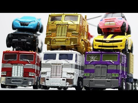 Full Transformers Stop motion - Optimus Prime, Bumblebee, Tobot Robot & Lego Robbery Car Toys