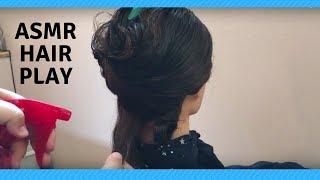 ASMR Hair play with mannequin hair/doll hair - Hair brushing sounds - Water spray - No talking thumbnail