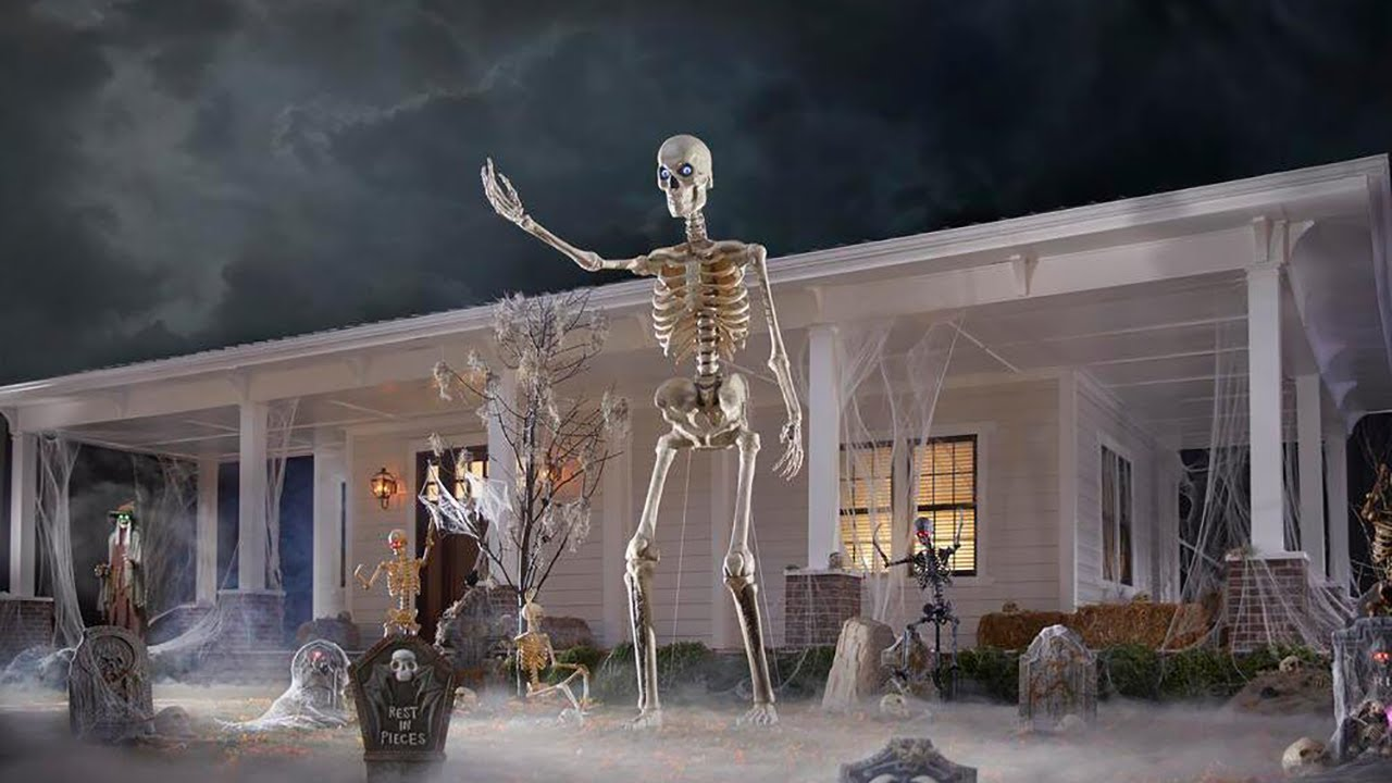 12 Ft Giant Sized Skeleton With Lifeeyes The Home Depot Youtube