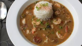 Duck Sausage Shrimp Gumbo Recipe - Cajun Gumbo With Andouille, Duck Leg, Shrimp And Langoustine