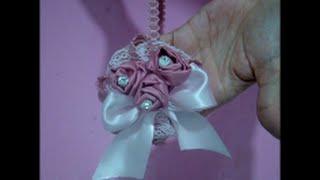 Diy flores de cetim bouquet para tiara