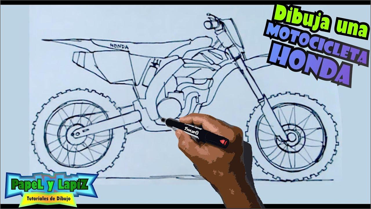 Dibuja motocicletas paso a paso 5/7 - Una motocross Honda 250 - YouTube