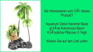 Aquarium Dekor Keramik Basis grüne Kokosnuss Baum Künstliche Pflanzen 5