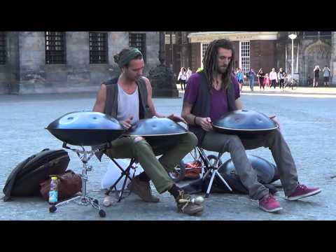 Amsterdam Street Music on Dam Square (Hang Drum Duo)