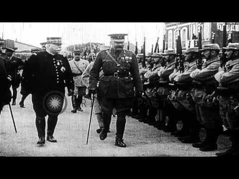 British War Minister, Lord Kitchener, visits France, hosted by French War Ministe...HD Stock Footage