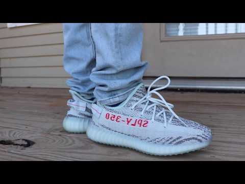 2017 BLUE TINT ADIDAS YEEZY BOOST 350 V2 ON FOOT LOOK