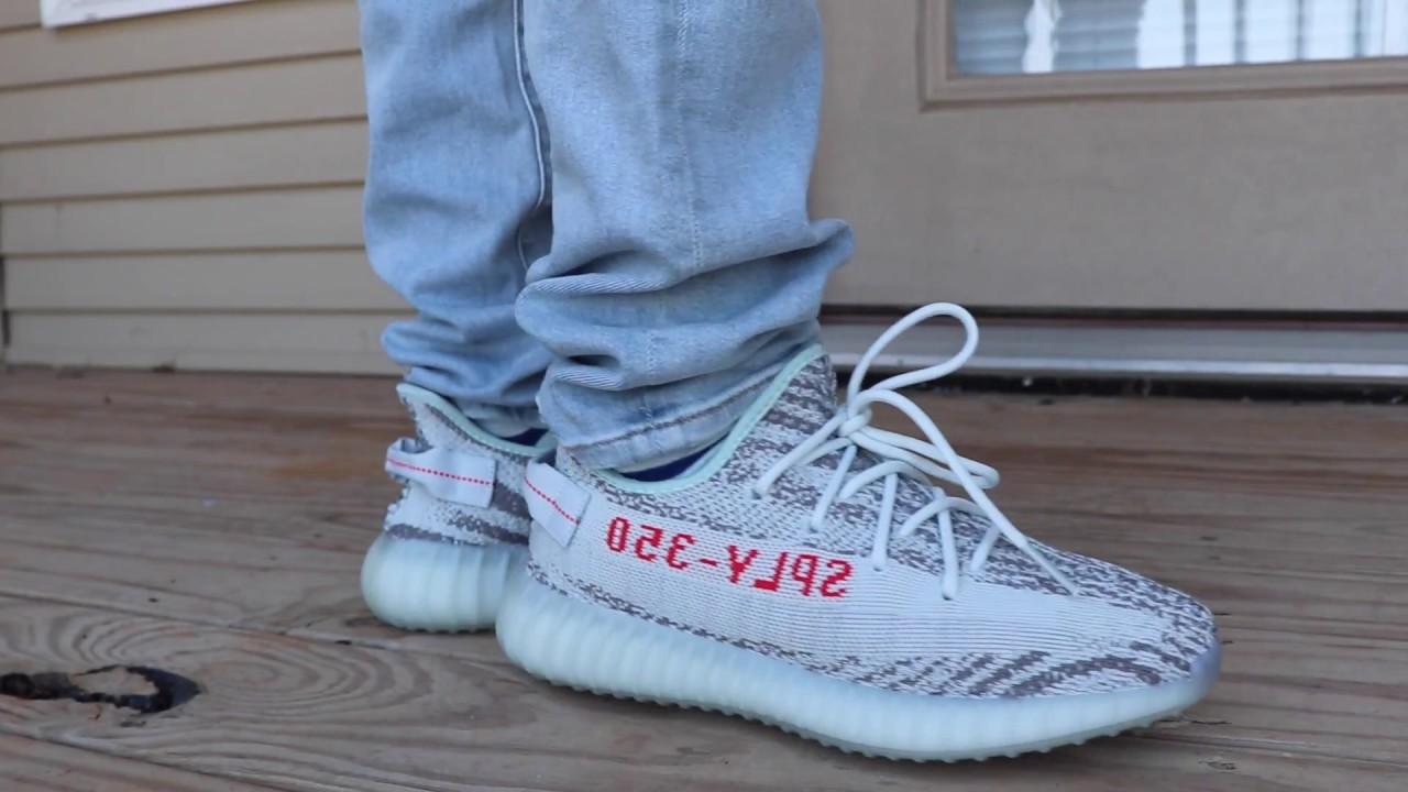 buy popular 4daa2 f9058 2017 BLUE TINT ADIDAS YEEZY BOOST 350 V2 ON FOOT LOOK!!! (The Authentic  Ones)| FIRST LOOK