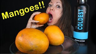 JUICY MANGO MUKBANG - eating a mango with the skin like an apple