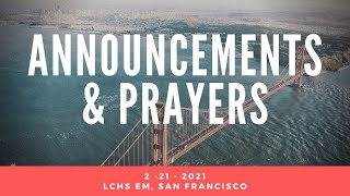 2-28-21 Announcement & Prayer @ LCHS EM