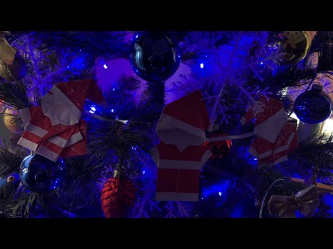 Новогодняя гирлянда из бумаги Дед Мороз. Christmas tree garland paper Santa Claus. Origami DIY .