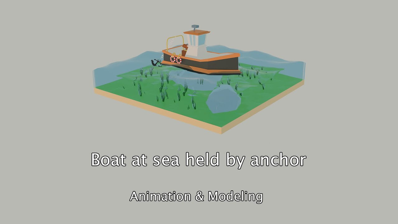 Boat at sea held by anchor - Animation & 3D modeling