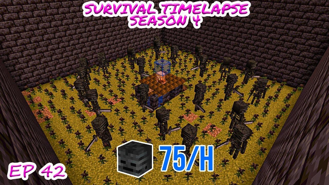 Wither Skeleton Skull Farm! | Minecraft Survival Timelapse Season 4 Episode 42
