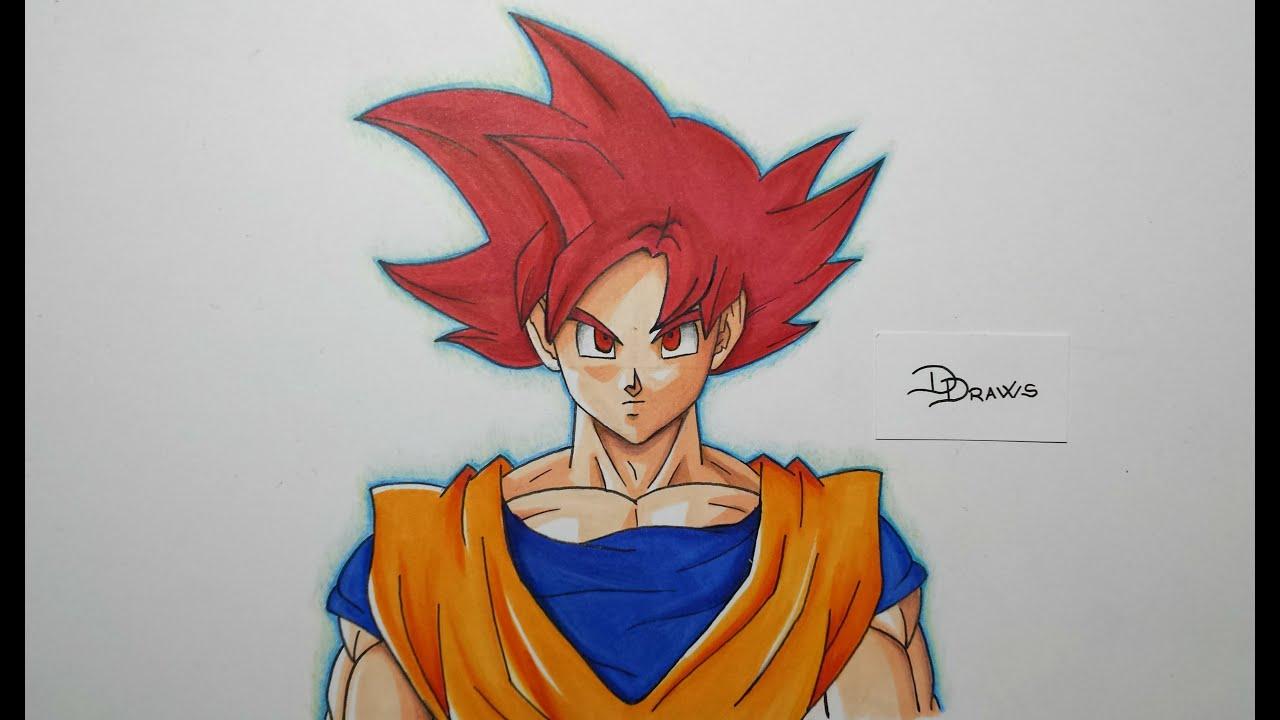 Speed Drawing Goku Ssj God (hd) Ƃ�空ssj神