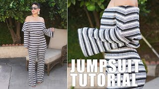 DIY OFF THE SHOULDER JUMPSUIT TUTORIAL!
