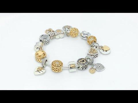 Decorative Idea - PANDORA Valentine's Day GOLD & SILVER Themed Charm Bracelet