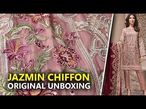Jazmin Chiffon Collection 2019   Unboxing Shahnameh Cyra D4 Sara Clothes   Hina Altaf