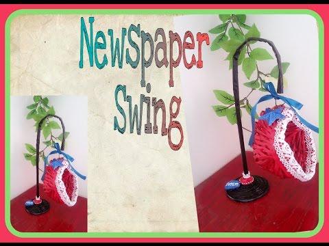 DIY How to make Newspaper Swing / Newspaper weaving Craft
