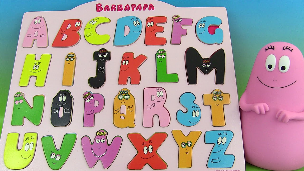 apprendre l 39 alphabet fran ais avec barbapapa jouet d 39 encastrement learn french abcs youtube. Black Bedroom Furniture Sets. Home Design Ideas