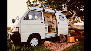 Tiny Compact Camper Van Conversion // Full Tour // Piaggio Porter/hijet