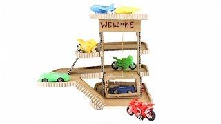How to Make Cardboard Toy Car Garage Playset with lift - DIY Toy Car Garage With Electric Lift