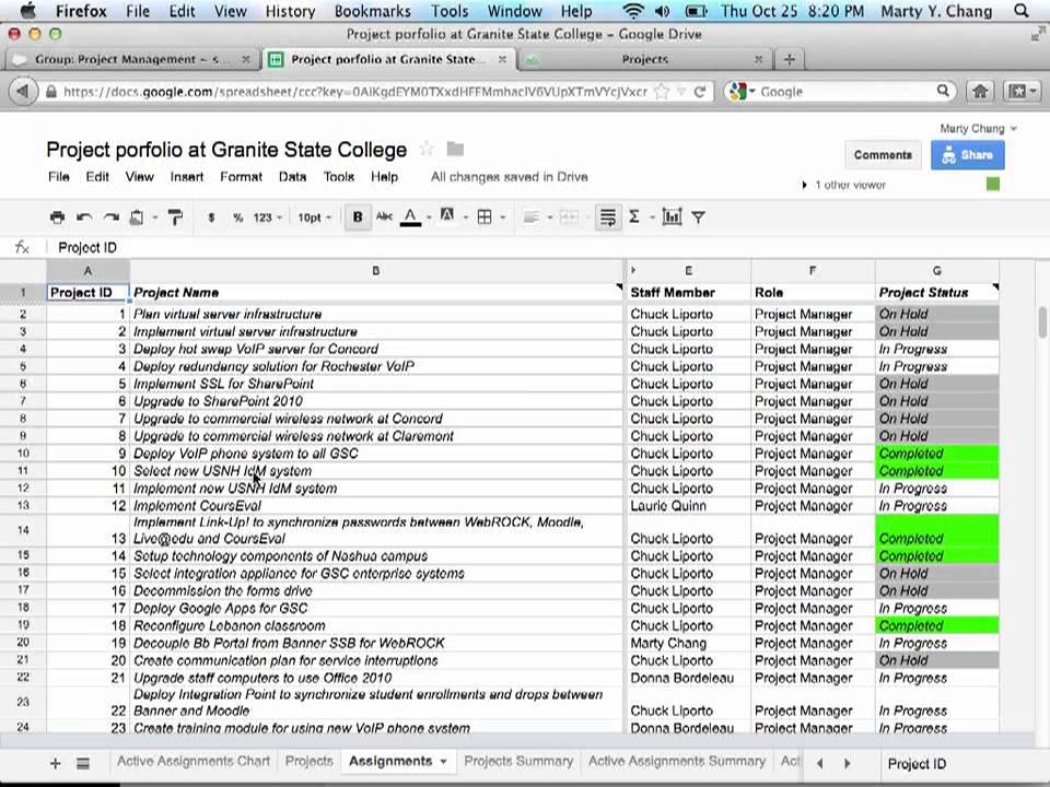intro to project portfolio spreadsheet at granite state