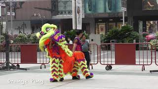 Lion dance troupes praying before competition at Ngee Ann City. 9 September 2019