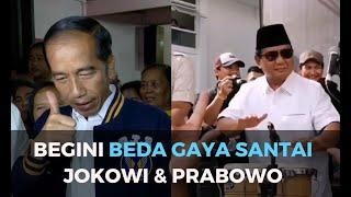 Begini Beda Gaya Santai Jokowi dan Prabowo