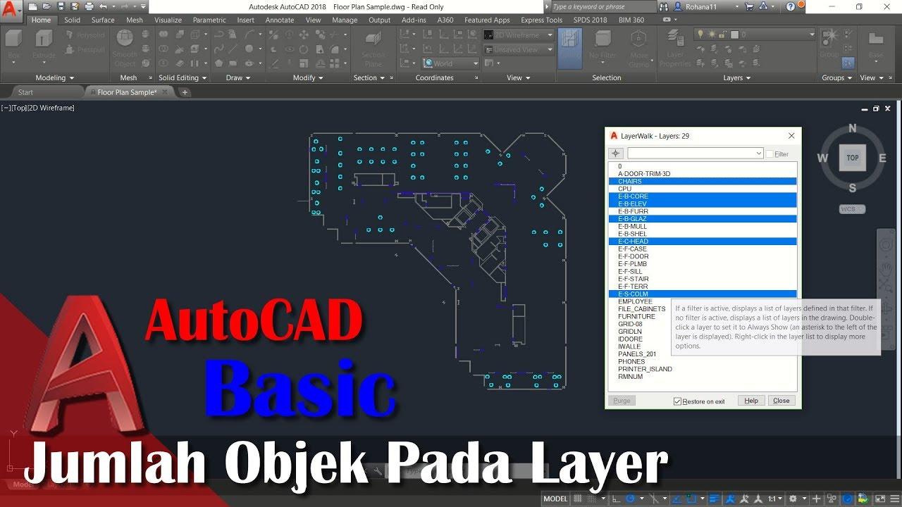 Cara Mengetahui Jumlah Object Dengan Layer Di AutoCAD - YouTube