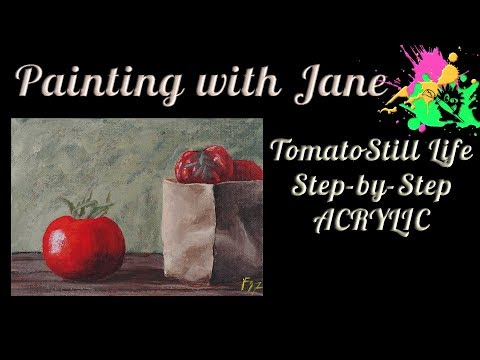 30 Days of Art #7 - Tomato Still Life Step by Step Acrylic Painting on Canvas for Beginners