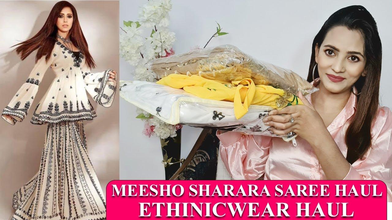 MEESHO HAUL : BOLLYWOOD DESIGNER SAREE SHARARA GOWN HAUL | THREAD WORK SEQUIN WORK | @Meesho
