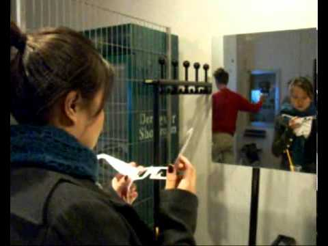"""""""First Person Shooter"""" during Trampoline Night Berlin, Aram Bartholl 2006"""