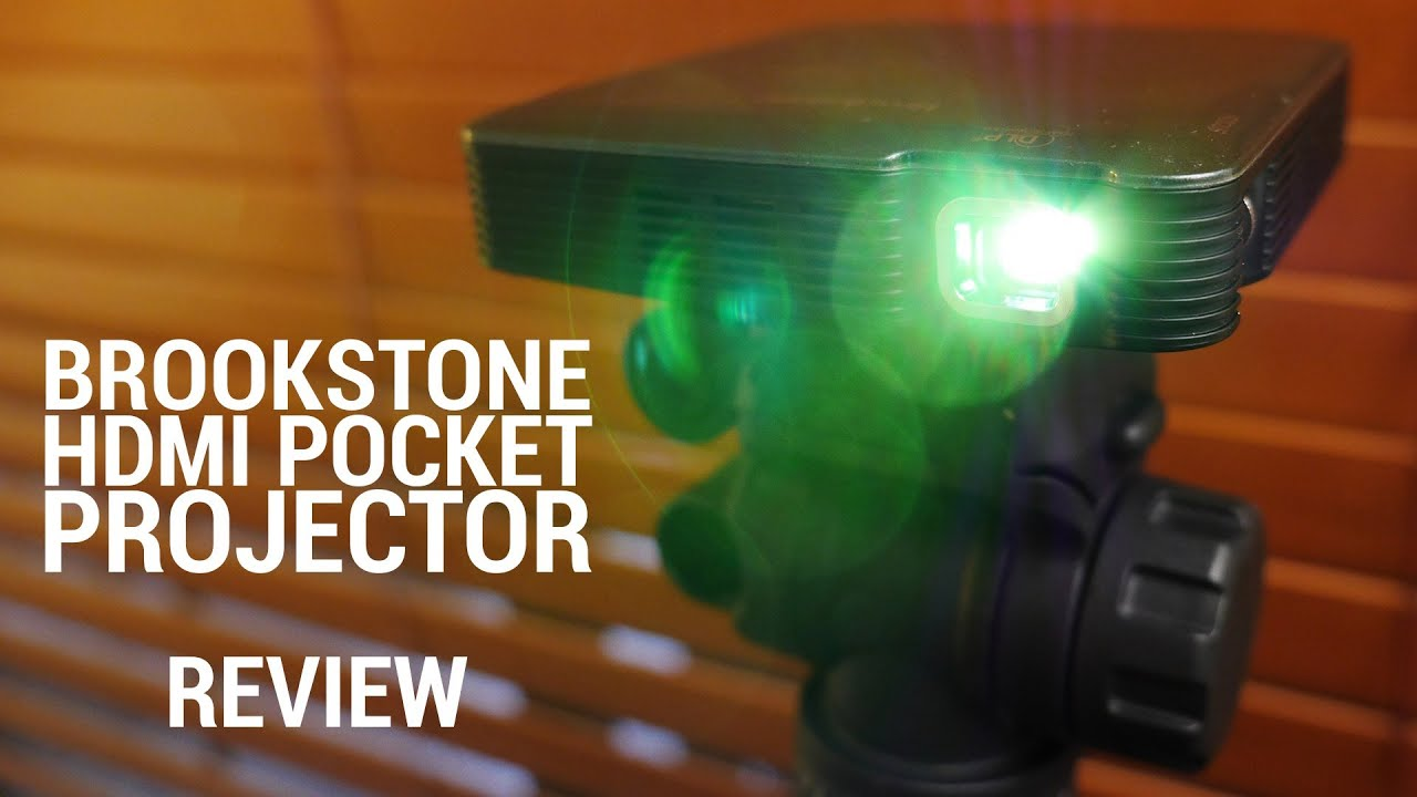 Brookstone hdmi pocket projector review youtube for Where to buy pocket projector