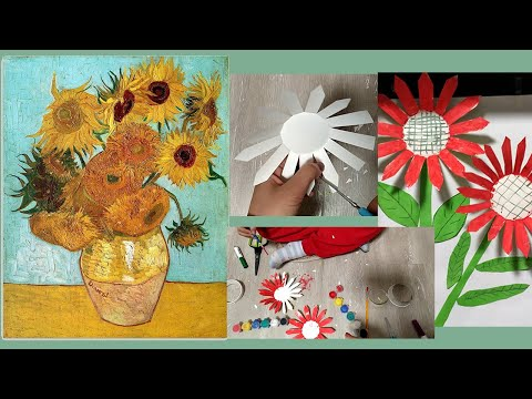 Origami and paper-cut DIYDecorative painting.Let's make paper sunflowers together