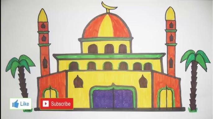 رسم سهل رسم مسجد رسم جامع رسومات رمضان طريقة رسم مسجد تعليم الرسم Youtube