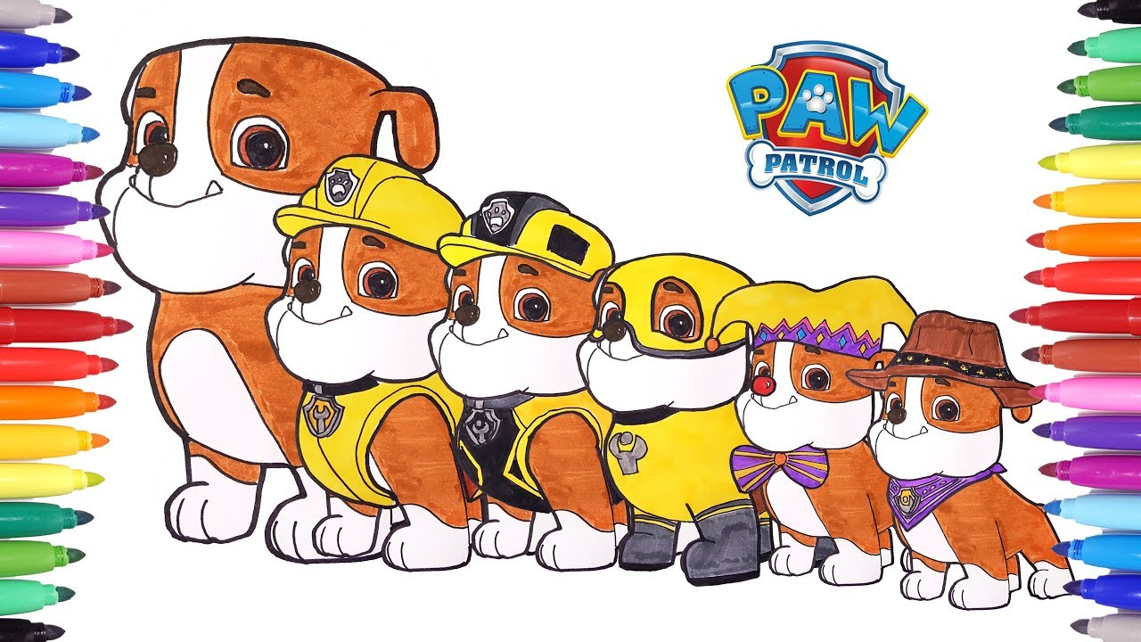 PAW PATROL Rubble Switch Clothes Magic Coloring Pages How